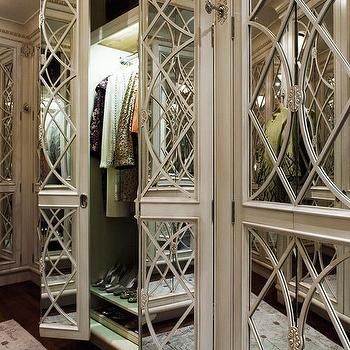 Traditional Home - closets - mirror doors, mirrored doors, closet doors, mirror closet doors, mirrored closet doors,  Beaux Arts Mansion - Chic