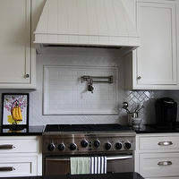 Classic white kitchen design with white Ikea kitchen cabinets, black granite counter ...