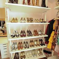 Domestic Jenny - closets - Behr - frolic - white, pink, dressing room, closet, ikea, stolmen, shoe cabinet, shoe cabinets, shoe shelves, shelves for shoes, shoe storage, shoe closet, closet shoe shelves, shoe racks, closet shoe racks,