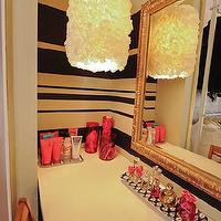 Domestic Jenny - closets - dressing room, vanity nook, chalkboard paint, striped walls, gold mirror, ornate mirror,  dressing room