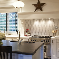 Meredith Heron Design - kitchens - white, kitchen island, soapstone, countertop, white, kitchen cabinets, calcutta, gold, countertops, black, stools, soapstone countertops, soapstone island, soapstone kitchen island,