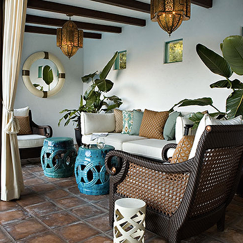 Kristen Panitch Interiors - decks/patios - turquoise stools, turquoise blue stools, turquoise garden stool, turquoise blue garden stool, rope chandelier, turquoise rope chandelier, moroccan lanterns,