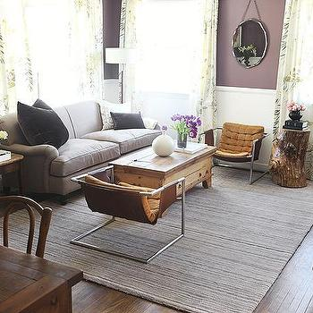 Emily Henderson - living rooms - Benjamin Moore Vintage Charm, purple walls, purple wall paint, purple paint colors, mid century modern chairs,