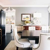 Jeneration Interiors - dining rooms - gray, walls, glossy, black, door, marble top, gold, console, table, antique, buffet, modern, wood, rectangular, dining table, Baker, white, tufted, dining chairs, nailhead trim dining chairs, dining chairs with nailhead trim, nailhead trim dining chairs,