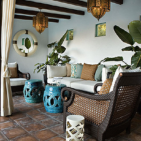 Kristen Panitch Interiors - decks/patios - outdoor, cane, furniture, turquoise, blue, garden stools, brown, blue, pillows, Moroccan, pendants, chandeliers, ivory, outdoor, drapes,