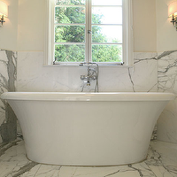 Jeneration Interiors - bathrooms - white, porcelain, soaking, tub, marble, tiles, floor, walls, polished nickel, rolling cart, sconces, calcutta marble, calcutta marble backsplash, calcutta marble floor, calcutta marble tile floor, calcutta marble tile bathroom,