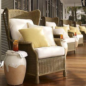 Saybrook All-Weather Wicker Wingback Armchair, Pottery Barn