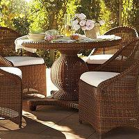 Tables - Palmetto All-Weather Wicker Round Pedestal Dining Table - Honey | Pottery Barn - palmetto, wicker, outdoor, seating