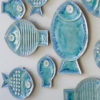 Art/Wall Decor - Blue Fish Plates - Contemporary Wall Decor - wall decor fish plates