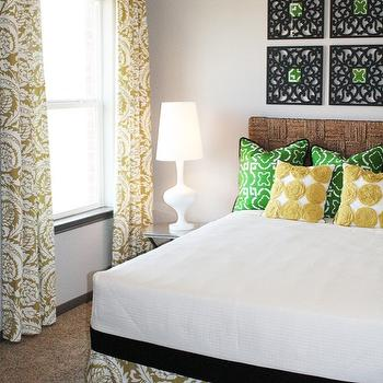 Charm Home Design - bedrooms - seagrass headboard, green pillows, yellow pillows, green and yellow pillows, green and yellow bedroom, art over headboard, , Pier 1 Imports Black Wall Frame, Target DwellStudio Yellow Rosette Pillow,
