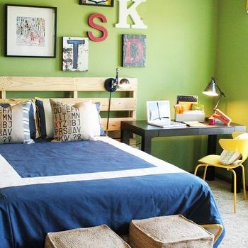 Charm Home Design - boy's rooms - crate headboard, blue and green boys room, blue and green boys bedroom, apple green walls, black parsons desk, desk as nightstand, desk used as nightstand, yellow desk chair, blue bedding, blue border bedding, burlap ottomans, cube ottomans, burlap cube ottomans, letter press pillows, , West Elm Parsons Desk, West Elm Wrap Office Chair, West Elm Jute Cube,