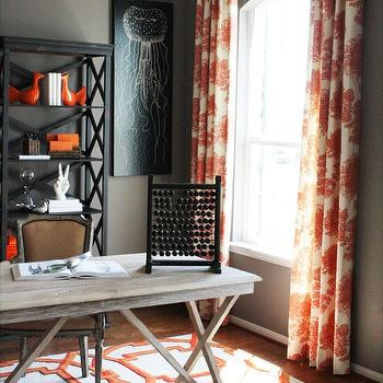 Orange Curtains, Contemporary, den/library/office, Charm Home Design
