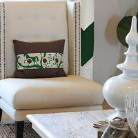 Charm Home Design - living rooms - chevron curtains, chevron drapes, white and green curtains, white and emerald green curtains, nailhead chair, wingback chair, wingback chair with nailhead trim, reclaimed wood coffee table,