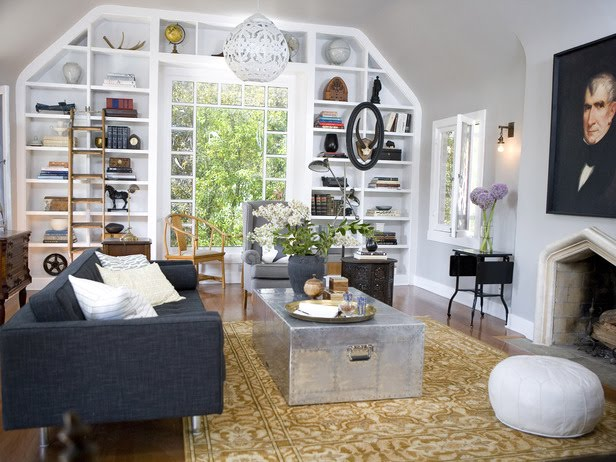 Suzie:  Emily Henderson ~ Secrets From a Stylist via HGTV.com    Eclectic office design with ...
