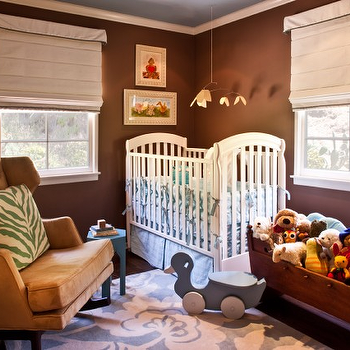 Elizabeth Gordon Studio - nurseries - boy nursery, boy nursery design, boy nursery ideas, brown boys nursery, white and brown nursery, white crib, wingback nursery glider, toy chest,