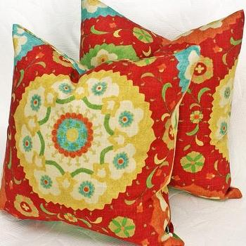 Pillows - Bohemian Look with Red Suzani Pillows 18x18 by PillowThrowDecor - pillow