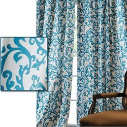 Window Treatments - Stamford Teal Printed Cotton 120-inch Curtain Panel | Overstock.com - drape