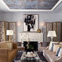 Elizabeth Gordon Studio - living rooms - floor screens, folding screens, living room floor screens, living room folding screens, painted ceiling, blue ceiling, high back sofa, living room fireplace, fireplace art, abstract art, black and white abstract art,
