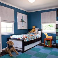 Elizabeth Gordon Studio - boy's rooms - blue, walls, twin, modern, bed, glossy orange parsons table cube, blue, green, FLOR, carpet, tiles, white, IKEA, Expedit, bookcase, striped, roman shades, lockers, flor tiles, flor carpet tiles, green and blue flor tiles, green and blue carpet tiles,