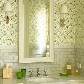 Elizabeth Dinkel Design - bathrooms - Chou Chou Wallpaper, sister parish wallpaper, marble tiles, marble backsplash, cream mirror, marble countertops, carrera marble countertop, Chou Chou Wallpaper,