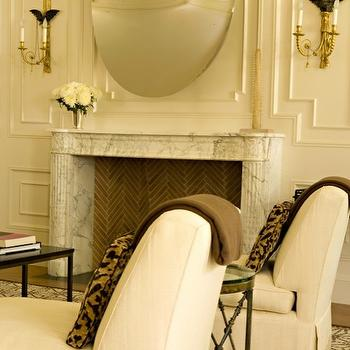 Elizabeth Dinkel Design - living rooms - monochromatic living room, greek key trim, chairs with greek key trim, slipper chairs, slipper chairs with greek key trim, greek key ribbon trim, marble fireplace, white marble fireplace, herringbone firebox, trim moldings,