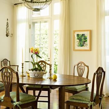 Elizabeth Dinkel Design - dining rooms - swedish chairs, swedish dining chairs, swedish dining set, cream sheers, cream sheer curtains, extension dining table, dining table with leaves, dining table leaf,