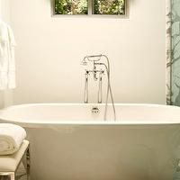 Elizabeth Dinkel Design - bathrooms - marble, tiles, floor, modern, soaking tub, polished nickel, modern, chic, stool, ottoman, bench, damask, roman shade,