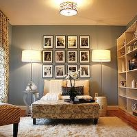 Emily A. Clark - living rooms - blue, walls, flokati, rug, gray, zebra, slipper chair, ivory, settee, sofa, floral rectangular ottoman, white, garden stool, polished chrome, floor lamps, bookcase, gray, table, Ballard Designs Firenze Embroidered Panel,
