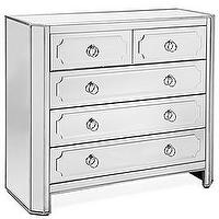 Storage Furniture - Z Gallerie - Simplicity Mirrored 5 Drawer Hall Chest - mirrored, chest