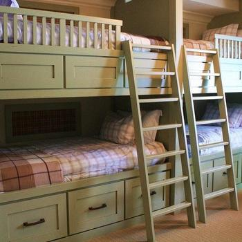 Alder and Tweed Home Outfitters - boy's rooms - green bunk beds, green boys beds, bunk bed ladders, removable bunk bed ladders, white bunk bed ladders, bunk beds, built in bunk beds, boys bunk beds, boys built in bunk beds, boys beds, green built in beds, green built in bunk beds,