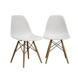Set of 2 Eiffel Wood Base Side Chair White, Mid Century Modern Eiffel Side Chair, Best Price Eiffel Side Chair