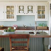 kitchens - kitchen with beadboard trim, beadboard, trim, kitchen beadboard, beadboard backsplash, blue beadboard, blue beadboard trim, blue beadboard backsplash, blue beadboard island, blue beadboard kitchen island,