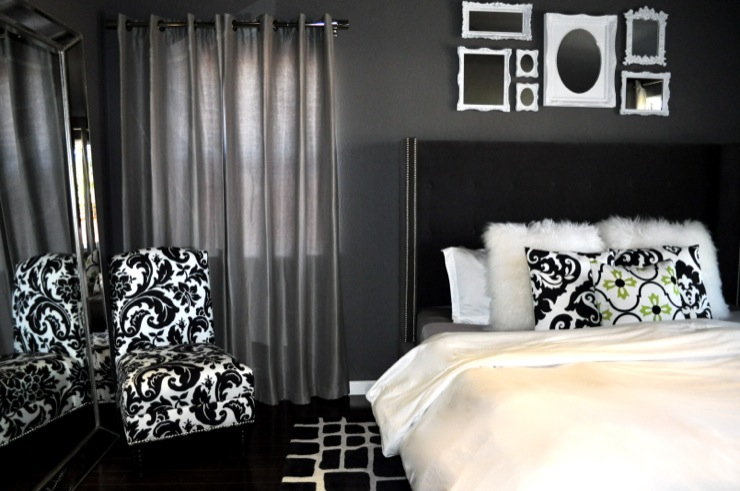 bedrooms - Damask Florenza Chair $269, lamb fur pillow covers, tufted nailhead upholstered bed, floor mirror, damask chair, upholstered bed, tufted wingback headboard, black tufted wingback headboard, tufted headboard, black tufted headboard, wingback headboard, black wingback headboard, black velvet headboard, black wingback headboard, black velvet wingback headboard, empty frames, black and white chair, black and white slipper chair,