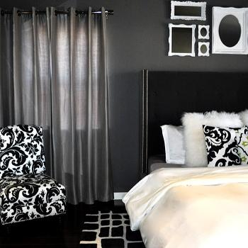 Black Velvet Headboard Contemporary Bedroom