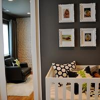 nurseries - nursery, baby room, bedroom, closet doors, mirror, damask, polka dot, houndstooth, black, white, green, grey, vintage, glam, glamor, retro, mid century, modern, mod, crib, pillow, bedding, chair, crib bedding, photo gallery.,