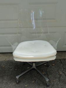 Seating - Rare MID CENTURY Modern Eames Era Lucite Swivel Chair | eBay - lucite, office chair