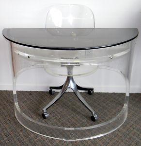 Tables - Vintage Mid Century Modern LUCITE Desk w/ Lucite Chair | eBay - lucite desk, lucite chair