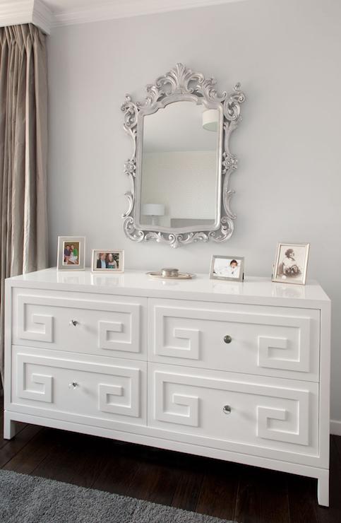 Greek Key Dresser Transitional bedroom Artistic