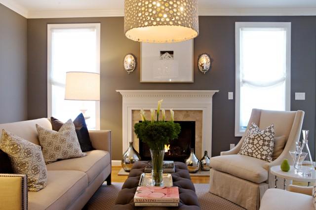 Gray Walls Contemporary Living Room Pratt And