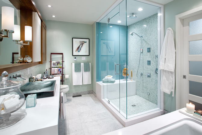 Brandon Barre Photography - bathrooms - modern, spa, blue, green, walls, blue, green, mosaic, tiles, shower surround, modern, sink, polished nickel, faucet, sconces, soaking tub, magazine rack, master bath shower, master bath showers, master bath shower design, master bath shower designs, spa like bathroom, candice olson bathroom,