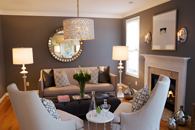 Suzie:  Heather Garrett Design  Chic gray living room design with gray purple wlls paint color, ...