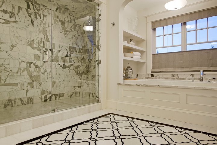 Paul Moon Design - bathrooms - white, black, moorish, tiles, floor, frameless glass shower, marble, tiles, shower surround, soaking tub, gray, silk, window treatments,