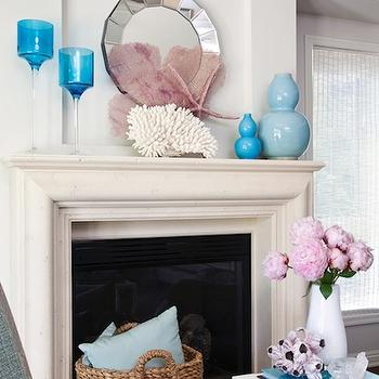 Armonia Decors - living rooms - turquoise accents, turquoise blue accents, fireplace mirror, styled fireplace,  Gorgeous aqua blue & pink chic