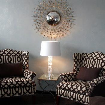 Silver Sunburst Mirror, Contemporary, living room, Gorgeous Shiny Things