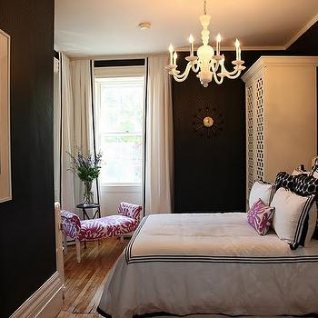 White Drapes with Black Ribbon Trim, Contemporary, bedroom, Gorgeous Shiny Things