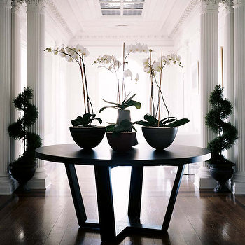 Erinn V Design Group - entrances/foyers - greek columns, interior greek columns, foyer, foyer table, entry table, entrance table,  Chic grand
