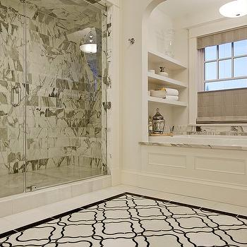 Paul Moon Design - bathrooms - quatrefoil tiles, quatrefoil floor, quatrefoil tiled floor,  Chic marble bathroom design with white & black moorish