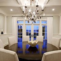 Paul Moon Design - dining rooms - French doors, transom, windows, glossy, wood, round, pedestal, dining table, parsons, chairs, chandelier, white, drapes,