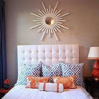Gorgeous Shiny Things - bedrooms - white headboard, tufted headboard, white tufted headboard, damask pillows, orange damask pillows, white and orange damask pillows, red gourd lamps, red double gourd lamps, white sunburst mirror mirror over headboard,