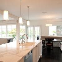 Paul Moon Design - kitchens - built-in, banquette, gray, cushions, pedestal, table, white, glass-front, kitchen cabinets, calcutta gold, marble, countertops, white, kitchen island, banquette, dining banquette, built-in banquette, built in dining banquette, kitchen banquette,